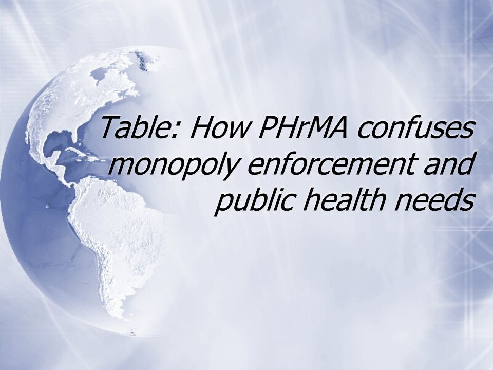 Table: How PHrMA confuses monopoly enforcement and public health needs