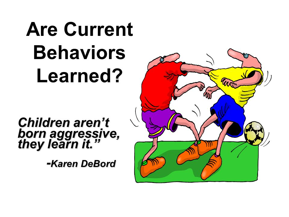 Are Current Behaviors Learned? Children aren't born aggressive, they learn it. - Karen DeBord