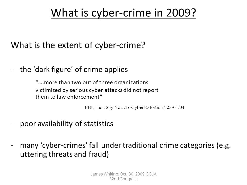 What is cyber-crime in 2009. What is the extent of cyber-crime.