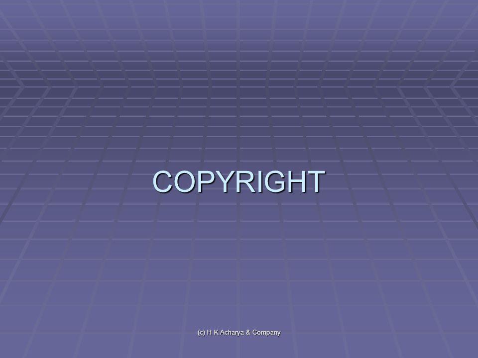 (c) H K Acharya & Company COPYRIGHT