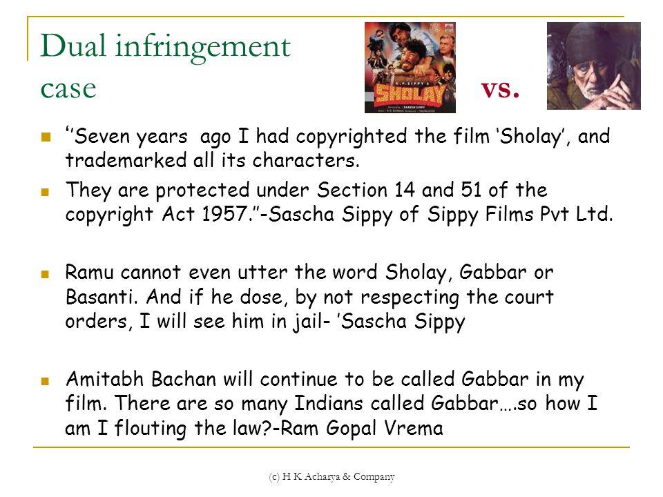 (c) H K Acharya & Company Dual infringement case vs.