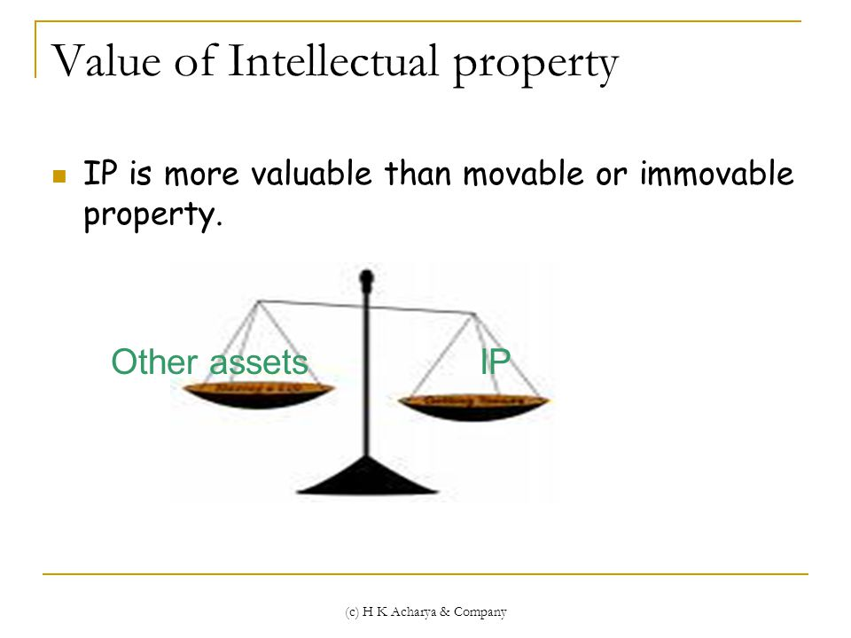 (c) H K Acharya & Company Value of Intellectual property IP is more valuable than movable or immovable property.