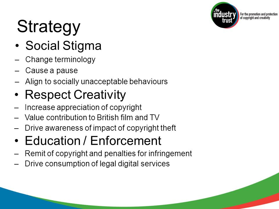 Strategy Social Stigma –Change terminology –Cause a pause –Align to socially unacceptable behaviours Respect Creativity –Increase appreciation of copyright –Value contribution to British film and TV –Drive awareness of impact of copyright theft Education / Enforcement –Remit of copyright and penalties for infringement –Drive consumption of legal digital services