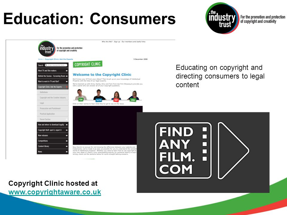 Education: Consumers Educating on copyright and directing consumers to legal content Copyright Clinic hosted at www.copyrightaware.co.uk www.copyright