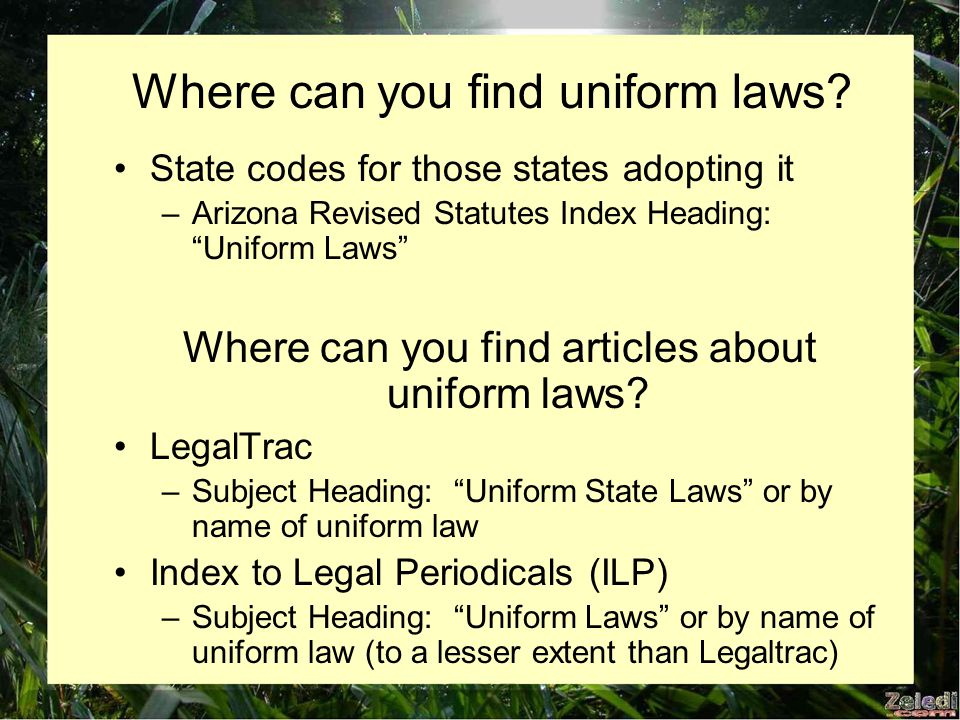 Where can you find uniform laws.