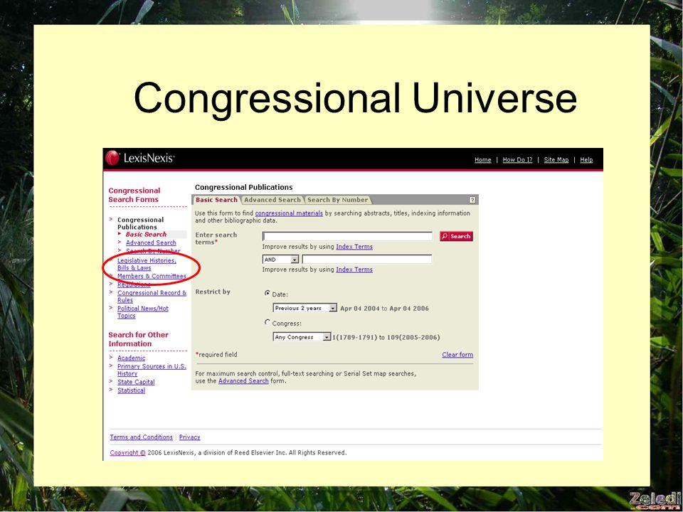 Congressional Universe