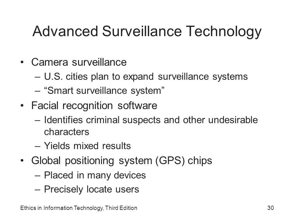 "Advanced Surveillance Technology Camera surveillance –U.S. cities plan to expand surveillance systems –""Smart surveillance system"" Facial recognition"