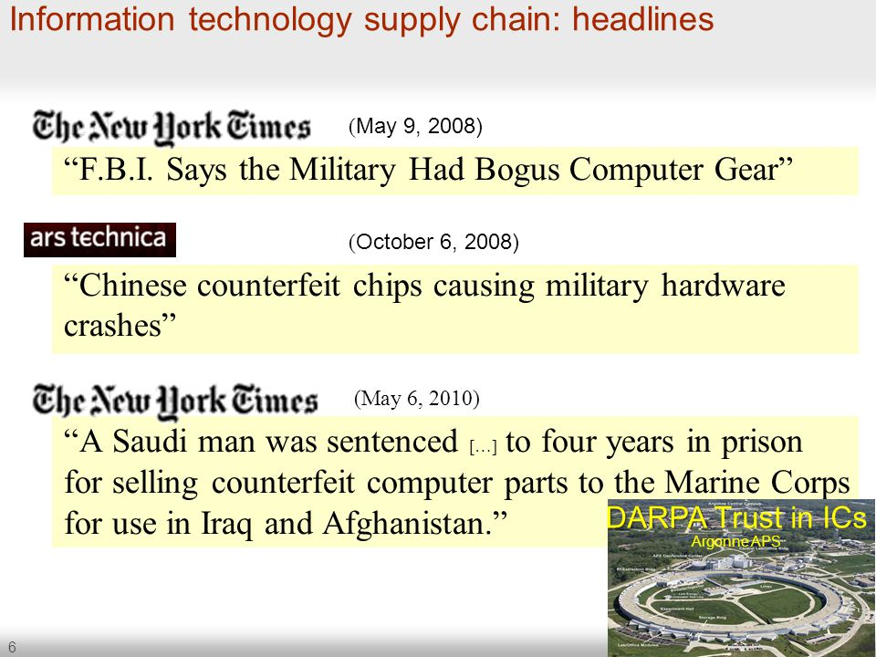 "6 Information technology supply chain: headlines ( May 9, 2008) ""F.B.I. Says the Military Had Bogus Computer Gear"" ( October 6, 2008) ""Chinese counter"