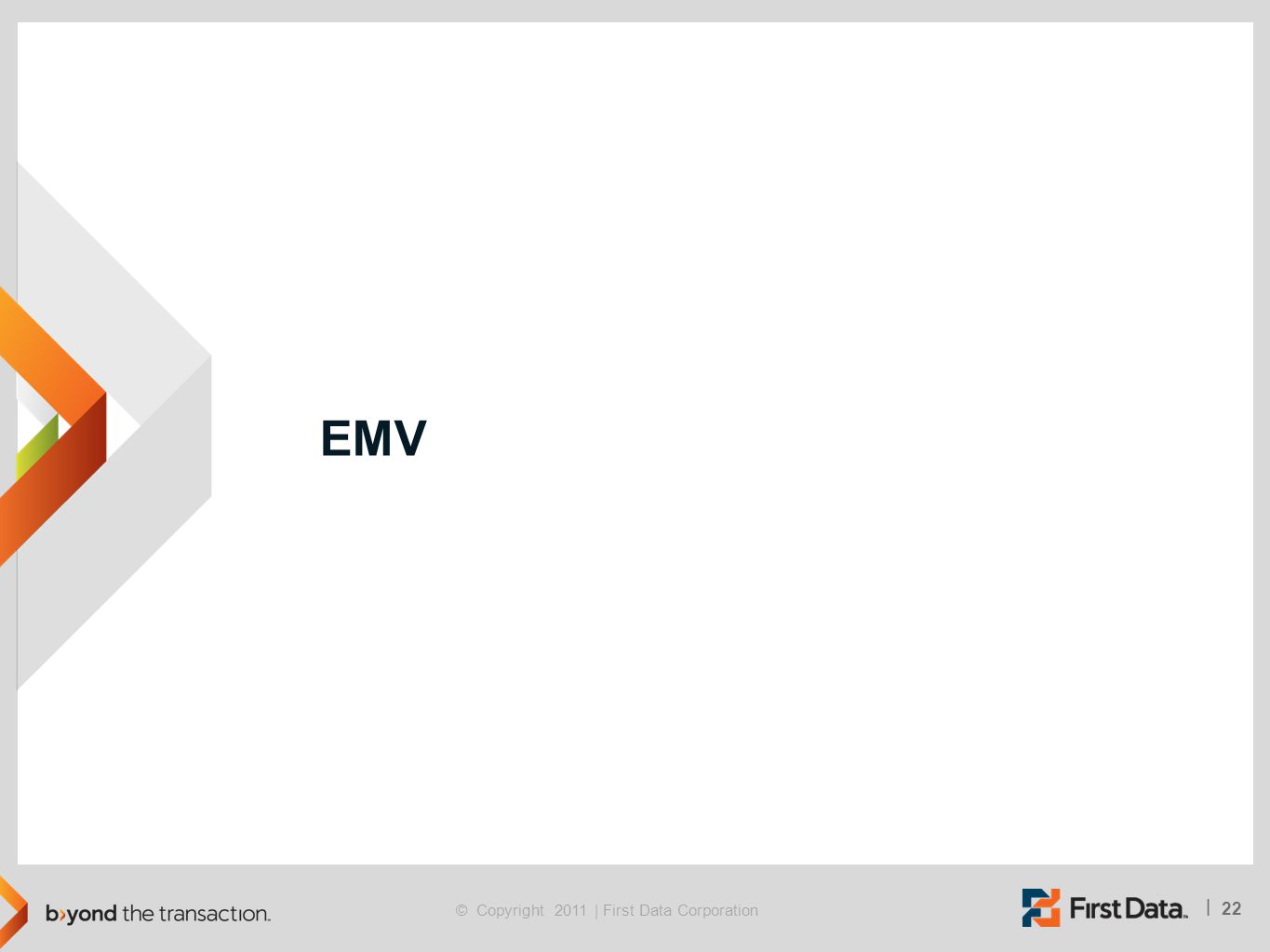 22 | © Copyright 2011 | First Data Corporation EMV