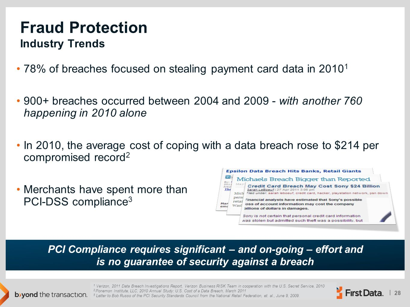 28 | © Copyright 2011 | First Data Corporation 78% of breaches focused on stealing payment card data in 2010 1 900+ breaches occurred between 2004 and