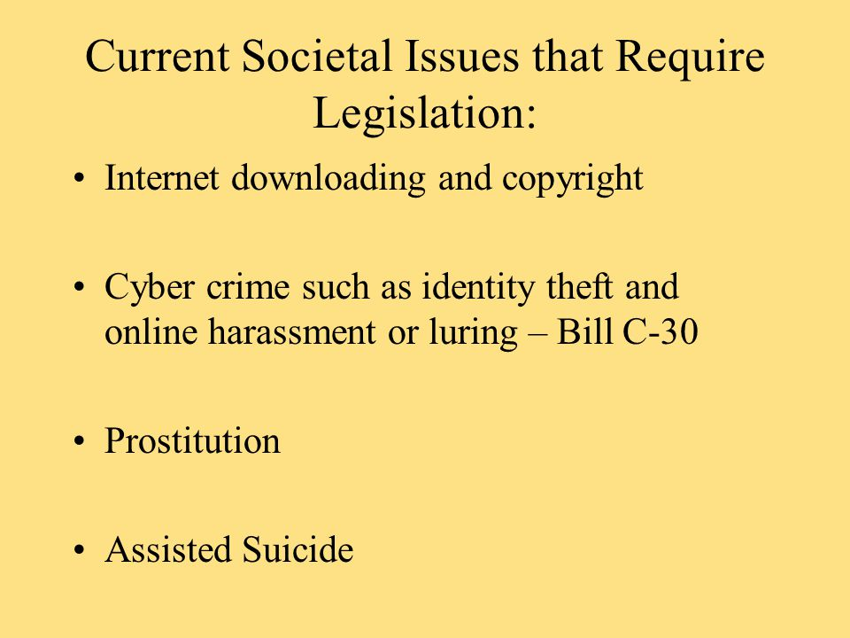 Current Societal Issues that Require Legislation: Internet downloading and copyright Cyber crime such as identity theft and online harassment or luring – Bill C-30 Prostitution Assisted Suicide