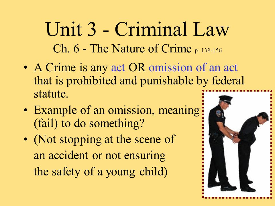 Unit 3 - Criminal Law Ch. 6 - The Nature of Crime p.