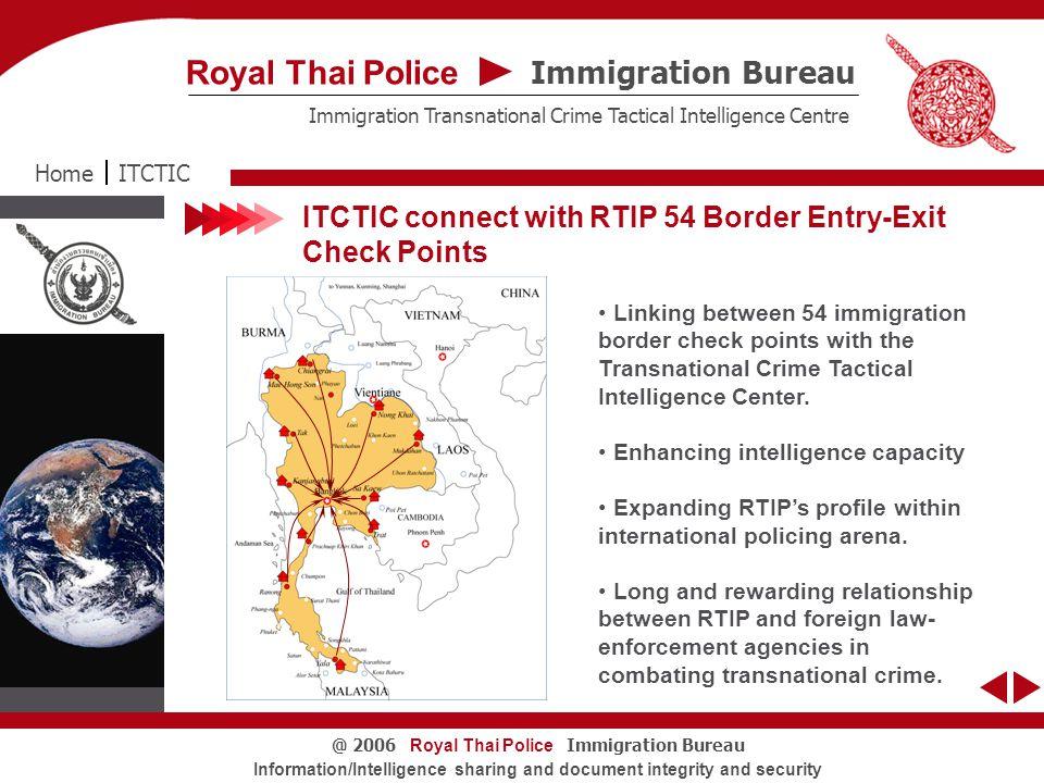Royal Thai Police Immigration Bureau@ 2006 Information/Intelligence sharing and document integrity and security Exhibits Seized from SOORIYA ITCTICHome Immigration Bureau Royal Thai Police Immigration Transnational Crime Tactical Intelligence Centre