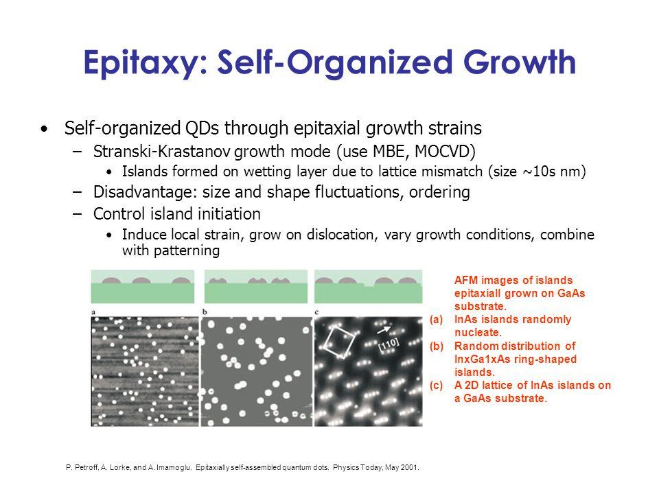 Epitaxy: Self-Organized Growth Self-organized QDs through epitaxial growth strains –Stranski-Krastanov growth mode (use MBE, MOCVD) Islands formed on