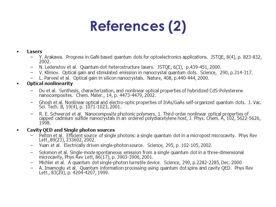 References (2) Lasers –Y. Arakawa. Progress in GaN-based quantum dots for optoelectronics applications. JSTQE, 8(4), p. 823-832, 2002. –N. Ledenstov e