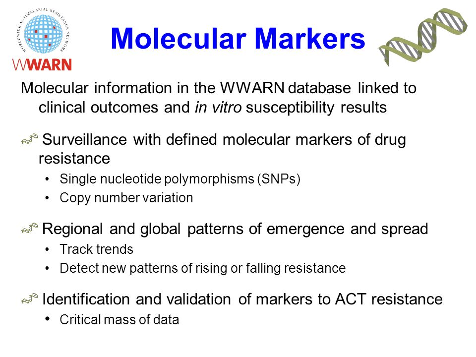 Molecular Markers Molecular information in the WWARN database linked to clinical outcomes and in vitro susceptibility results Surveillance with defined molecular markers of drug resistance Single nucleotide polymorphisms (SNPs) Copy number variation Regional and global patterns of emergence and spread Track trends Detect new patterns of rising or falling resistance Identification and validation of markers to ACT resistance Critical mass of data