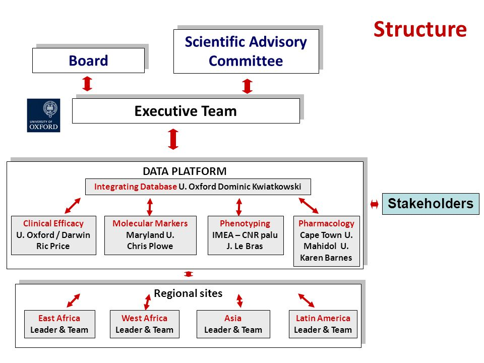Structure Board Executive Team DATA PLATFORM Clinical Efficacy U. Oxford / Darwin Ric Price Molecular Markers Maryland U. Chris Plowe Phenotyping IMEA