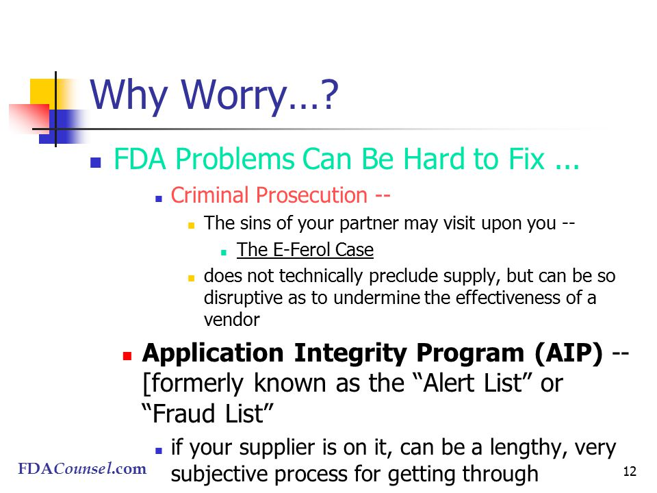 FDACounsel.com 12 Why Worry…. FDA Problems Can Be Hard to Fix...