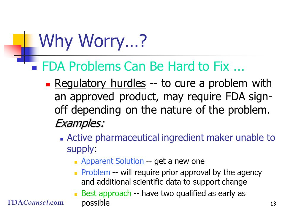 FDACounsel.com 13 Why Worry…. FDA Problems Can Be Hard to Fix...