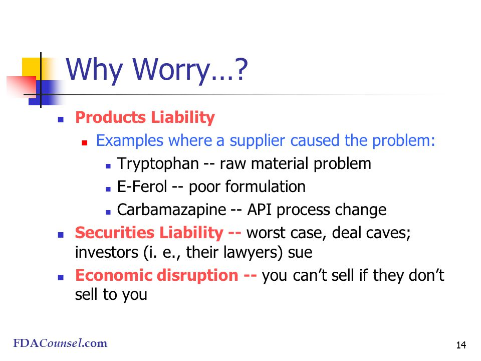 FDACounsel.com 14 Why Worry….