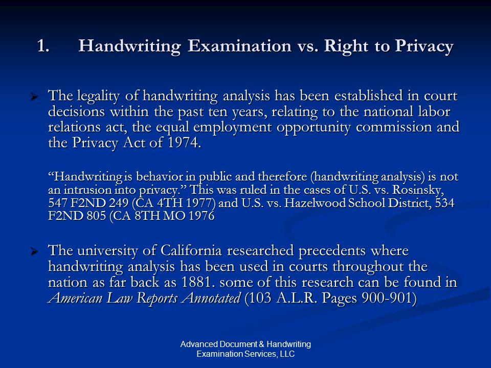 Advanced Document & Handwriting Examination Services, LLC 1.Handwriting Examination vs.