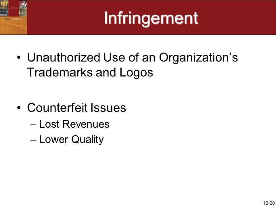 12-20Infringement Unauthorized Use of an Organization's Trademarks and Logos Counterfeit Issues –Lost Revenues –Lower Quality