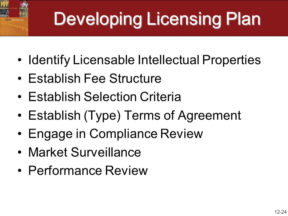 12-24 Developing Licensing Plan Identify Licensable Intellectual Properties Establish Fee Structure Establish Selection Criteria Establish (Type) Terms of Agreement Engage in Compliance Review Market Surveillance Performance Review