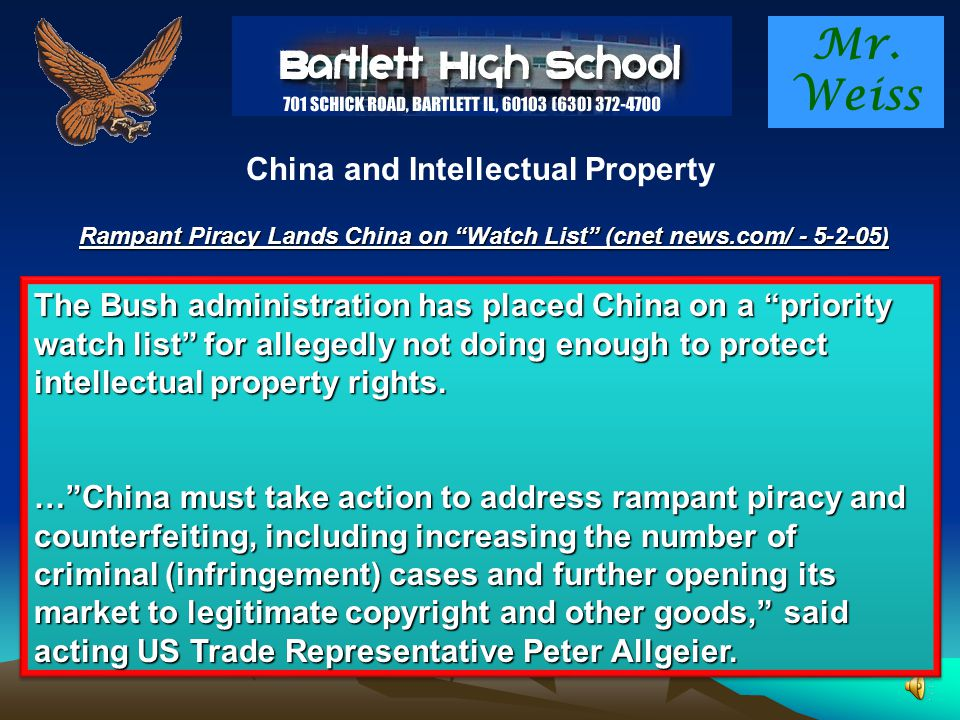 Mr.Weiss China and Intellectual Property What do we mean by intellectual property ?.