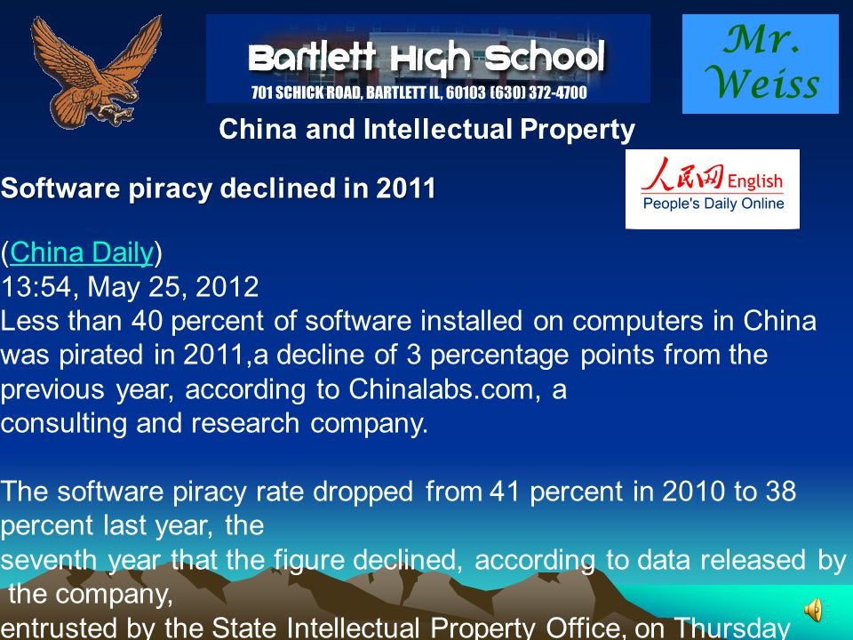 Mr. Weiss China and Intellectual Property Intellectual property in China Still murky Is the Middle Kingdom getting serious about protecting intellectu
