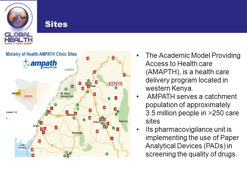 Sites The Academic Model Providing Access to Health care (AMAPTH), is a health care delivery program located in western Kenya.