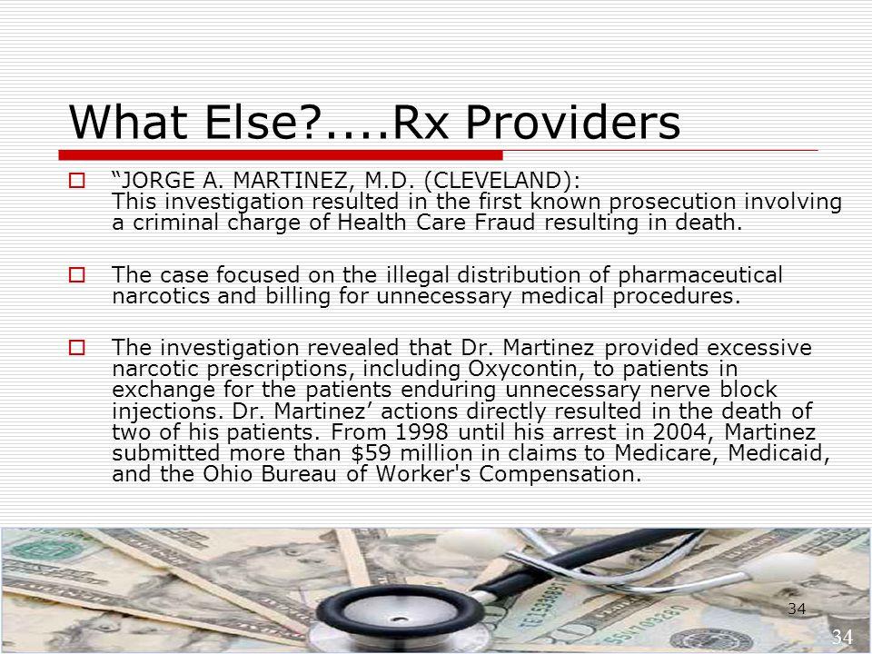 34 What Else?....Rx Providers  JORGE A. MARTINEZ, M.D.