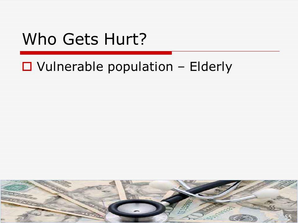 55 Who Gets Hurt?  Vulnerable population – Elderly 55