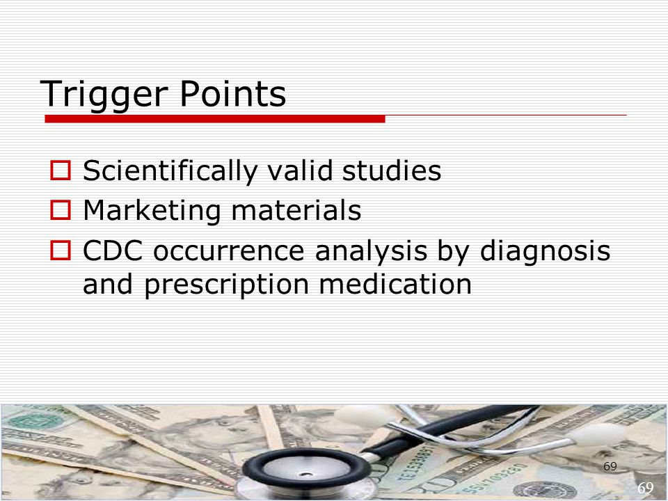 69 Trigger Points  Scientifically valid studies  Marketing materials  CDC occurrence analysis by diagnosis and prescription medication 69