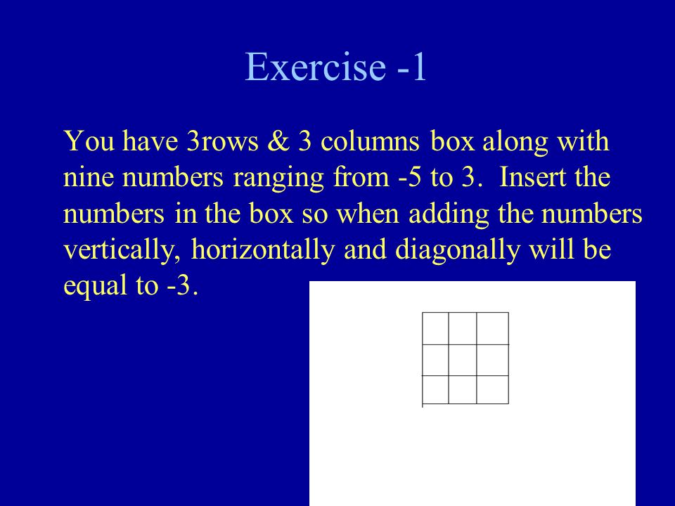 Exercise -1 You have 3rows & 3 columns box along with nine numbers ranging from -5 to 3.