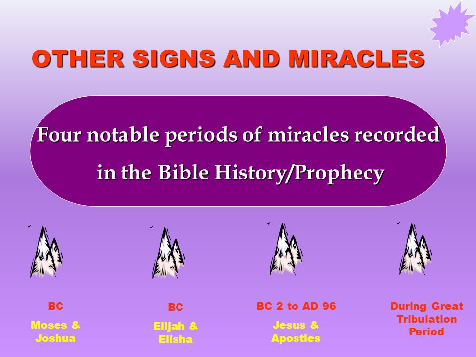 OTHER SIGNS AND MIRACLES Four notable periods of miracles recorded in the Bible History/Prophecy in the Bible History/Prophecy BC Moses & Joshua BC Elijah & Elisha BC 2 to AD 96 Jesus & Apostles During Great Tribulation Period