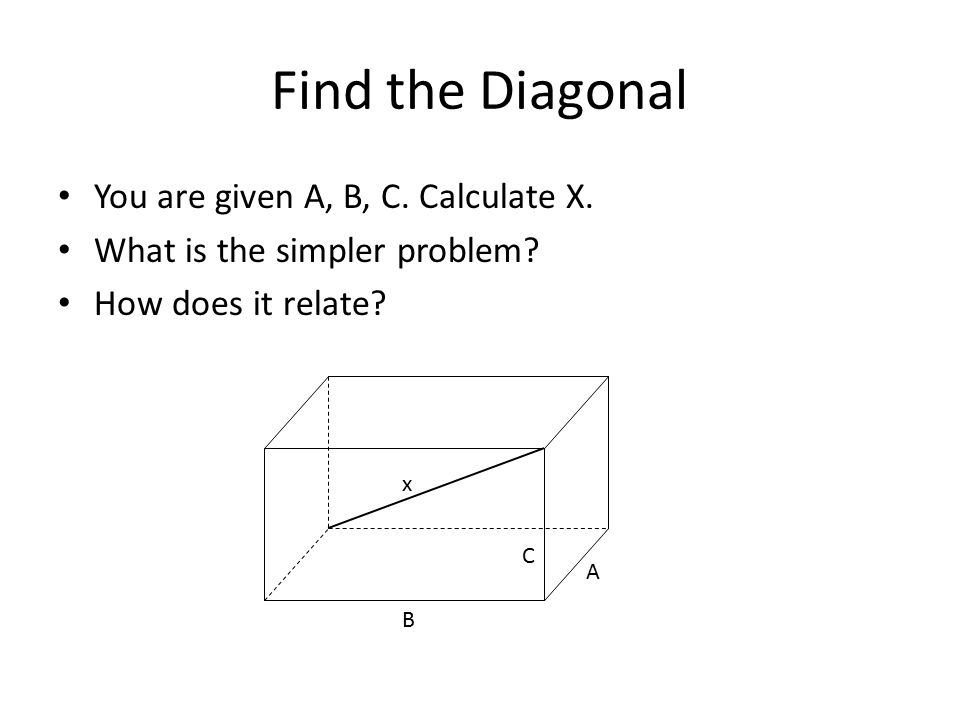 Find the Diagonal You are given A, B, C. Calculate X. What is the simpler problem? How does it relate? x A B C