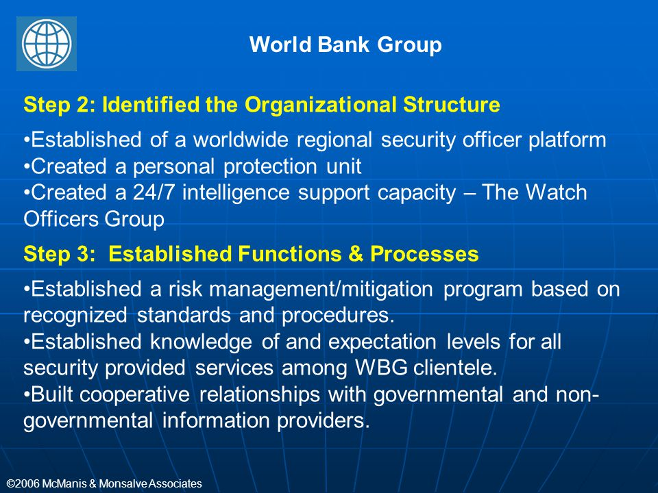 ©2006 McManis & Monsalve Associates Step 2: Identified the Organizational Structure Established of a worldwide regional security officer platform Crea