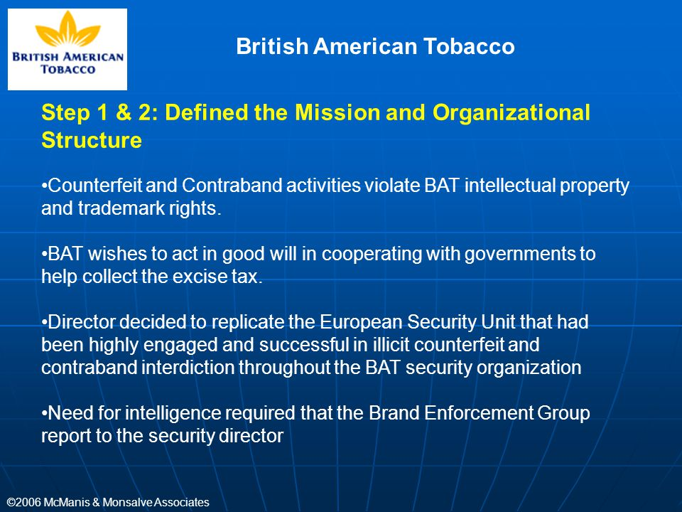 ©2006 McManis & Monsalve Associates British American Tobacco Step 1 & 2: Defined the Mission and Organizational Structure Counterfeit and Contraband a