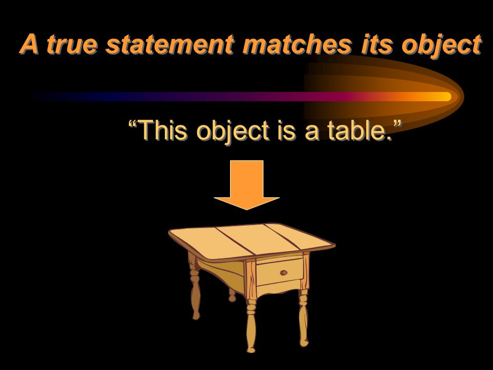 """A true statement matches its object """"This object is a table."""""""