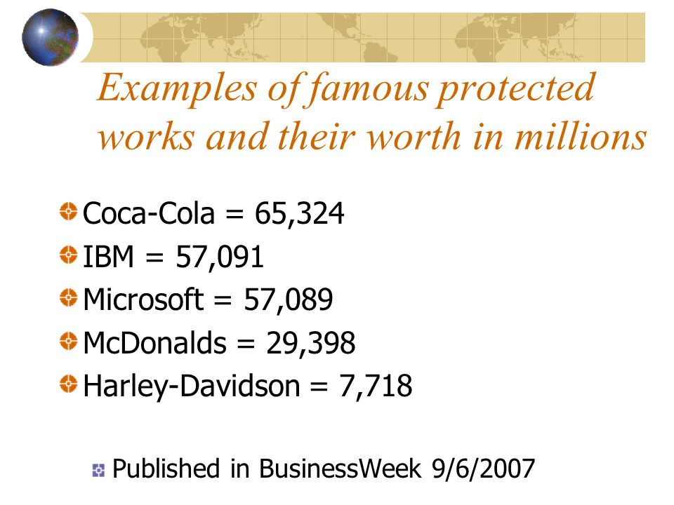 Examples of famous protected works and their worth in millions Coca-Cola = 65,324 IBM = 57,091 Microsoft = 57,089 McDonalds = 29,398 Harley-Davidson = 7,718 Published in BusinessWeek 9/6/2007