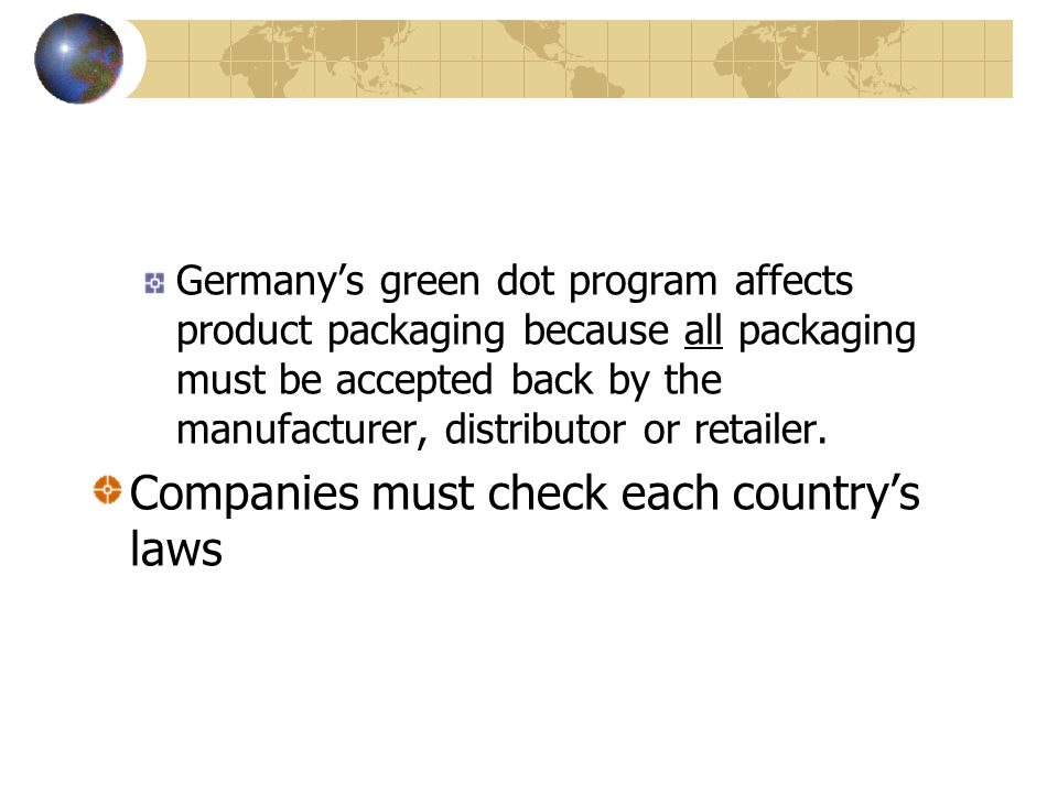 Germany's green dot program affects product packaging because all packaging must be accepted back by the manufacturer, distributor or retailer.