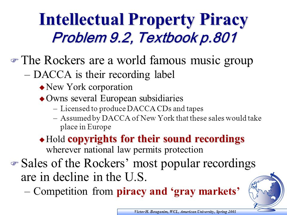 Victor H. Bouganim, WCL, American University, Spring 2001 Intellectual Property Piracy Problem 9.2, Textbook p.801 F The Rockers are a world famous mu