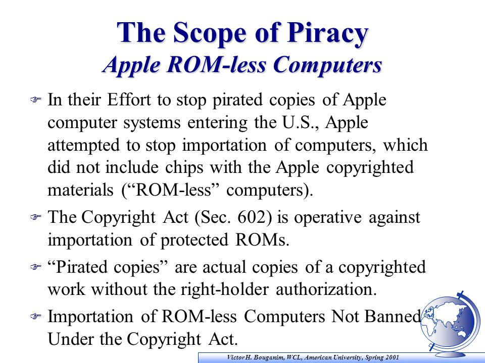Victor H. Bouganim, WCL, American University, Spring 2001 The Scope of Piracy Apple ROM-less Computers F In their Effort to stop pirated copies of App