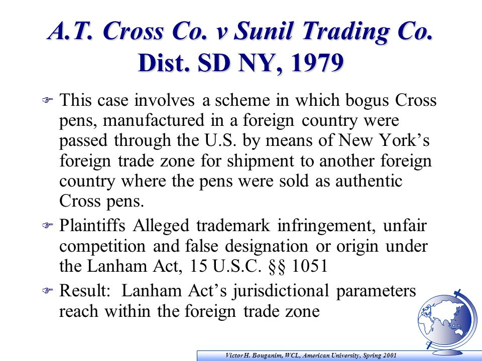 Victor H. Bouganim, WCL, American University, Spring 2001 A.T. Cross Co. v Sunil Trading Co. Dist. SD NY, 1979 F This case involves a scheme in which