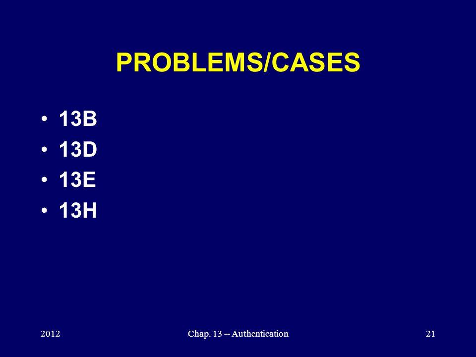 PROBLEMS/CASES 13B 13D 13E 13H 2012Chap. 13 -- Authentication21