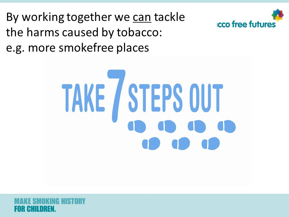 By working together we can tackle the harms caused by tobacco: e.g. more smokefree places