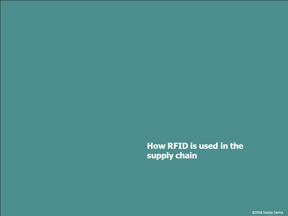 ©2006 Sanjay Sarma How RFID is used in the supply chain