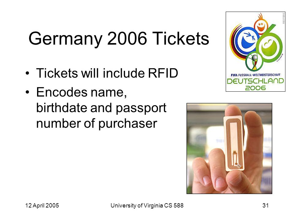 12 April 2005University of Virginia CS 58831 Germany 2006 Tickets Tickets will include RFID Encodes name, birthdate and passport number of purchaser