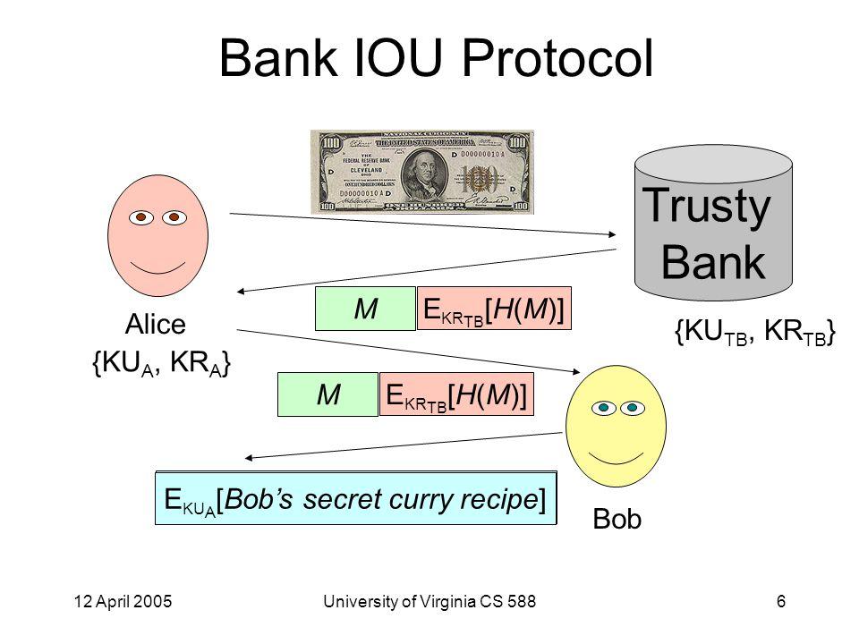12 April 2005University of Virginia CS 5887 Bank IOU Protocol Trusty Bank M E KR TB [H(M)] Bob M E KR TB [H(M)] M