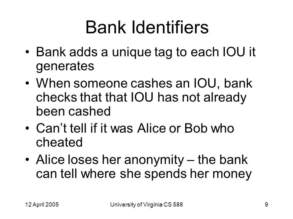 12 April 2005University of Virginia CS 58820 Digital Cash Protocol #2 Instead of envelopes, Alice blinds each money order using a different randomly selected k i.